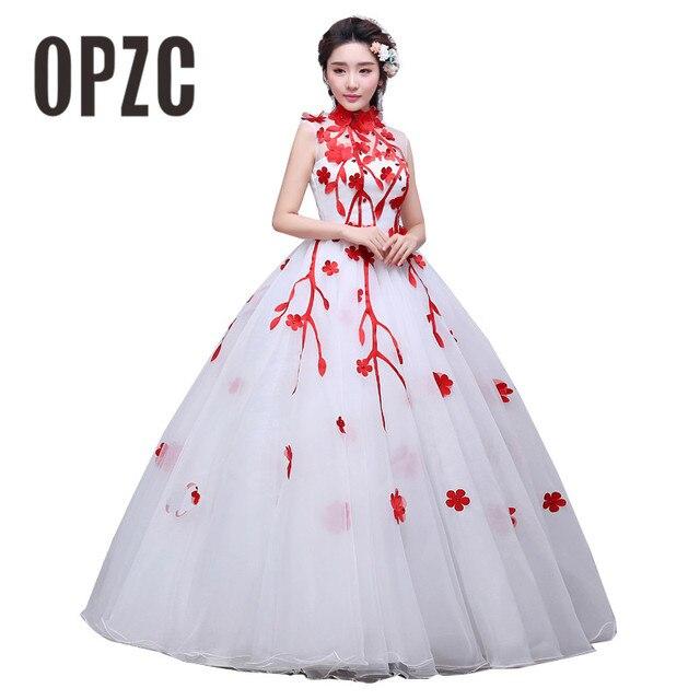 3 Color Red Black Blue Vintage High Neck Flowers Wedding Dress 2017 New  Korean Style Princess cheap Lace Ball Vestidos De Novia 89182b664ba1