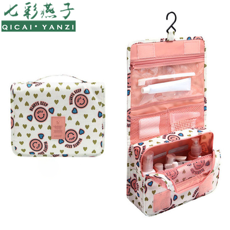 QICAI.YANZI 2017 Women Waterproof Portable Cosmetic Bag Hanging MeshTravel Toiletry Storage Purse Organizer Makeup Pouch F416