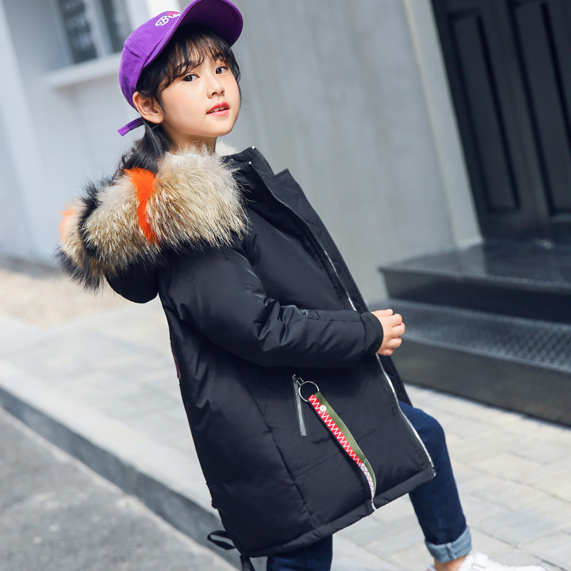2018 New Girls child Duck down jacket outerwear medium-long jacket thickening children's clothing winter warm girls coat 6 7 8 9 medium and large size girls down jacket new korean version of thickening parent child clothing warm hooded wool collar coat