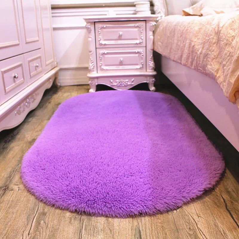 Solid Color Oval Floormat Carpet Long Hair Shaggy Mat Soft