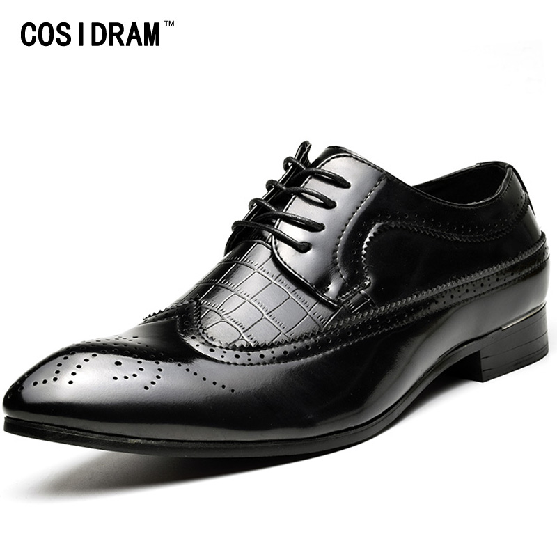 COSIDRAM 2018 Spring Pointed Toe Men Dress Shoes PU Leather Oxfords Formal Shoes For Business Wedding Shoes Male Luxury RME-349