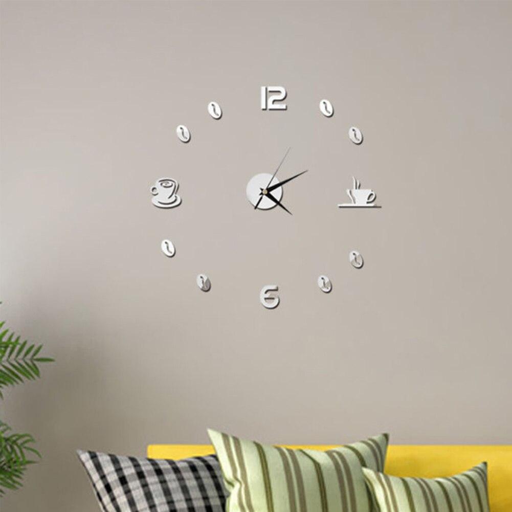 Self Adhesive Kitchen 3D Analog Home Waterproof Wall Clock Art DIY Mute Modern Mirror Coffee Cups Decor Acrylic 2
