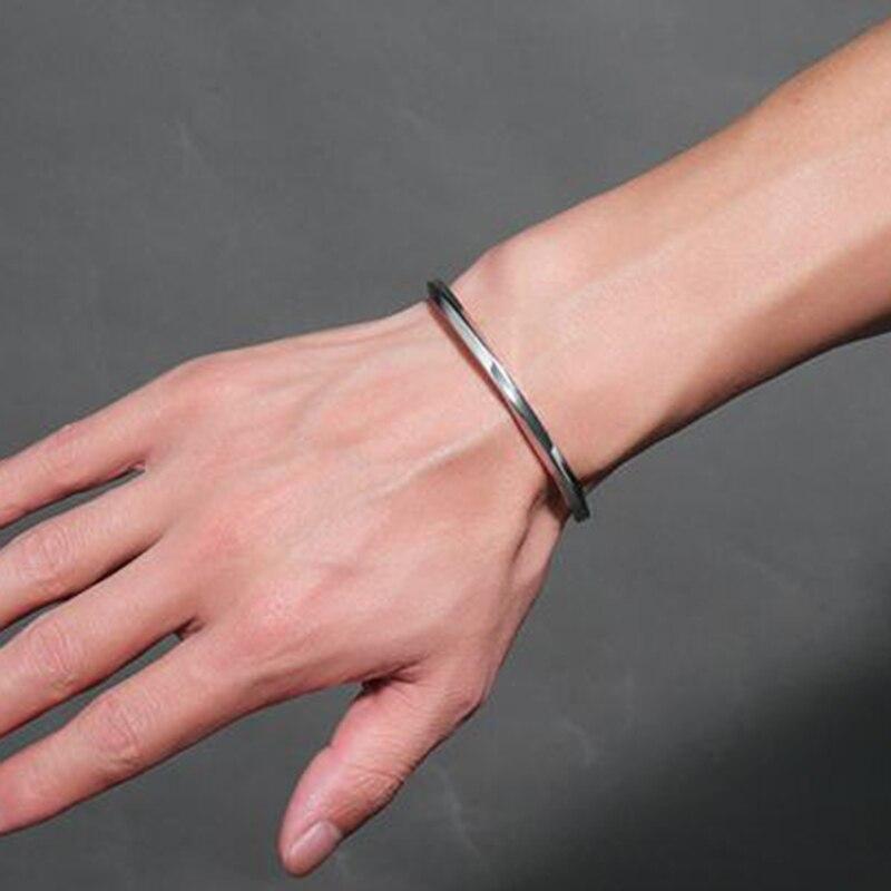 Silver Black Manchet Bangle för män och kvinnor Kvalitet 316L - Märkessmycken - Foto 5