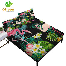 Tropical Green Plant Sheets Set Flamingo Flowers Print Fitted Sheet Leaves Painted Bed Linens Pillowcase Bedding Set D35 allover sanding plant print sheet set