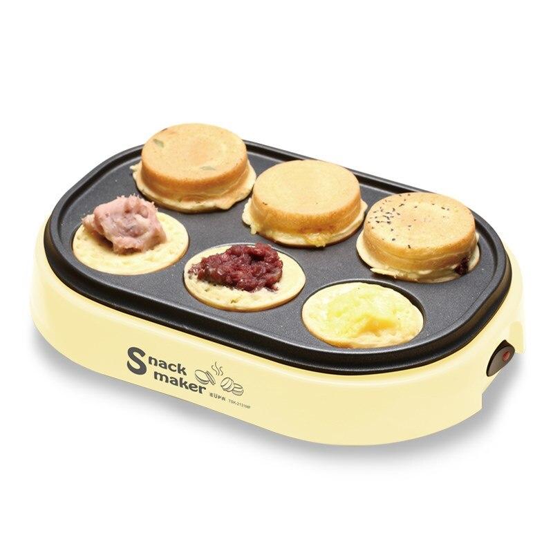 6 trous oeuf Burger Machine 220V roue gâteau Machine panneau antiadhésif oeuf gâteau petit déjeuner Machine électrique haricots rouges gaufrier