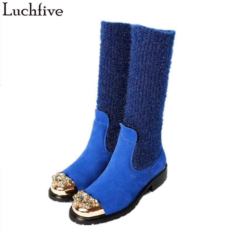Mujer blue Lana Cómodos Botines Black Vaca Patchwork Calcetines green Metal Decoración Luchfive Y De Planos Casuales Botas Zapatos Elástico Tejer aUnAI