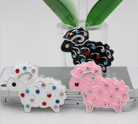 New arrived Colorful Rhinestone decoration Animals shape silver plated Cartoon Sheep charms diy hair/Brooches/Phone case patch