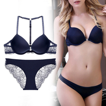 3cba6a1541f8 Perfering Front Closure Bra Set Sexy Y-line Straps Push Up Bra Underwear  Women Lace