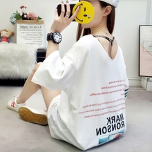 2019 tshirt women Casual Round Neck Letter Print Short Sleeve Loose Pullover Simple