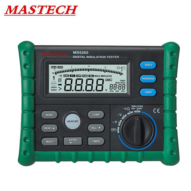 MASTECH MS5205 Portable Digital Resistenza di Isolamento Tester del Tester Megger MegOhm Meter tester di Alta Precisione pannello di Inglese