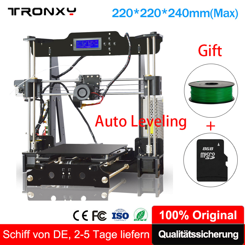 Auto Leveling Tronxy 3D Printer extruder print size 220*220*240mm LCD Screen Tronxy 3D Printer +8G SD card&1 Roll Filament Free tronxy 3d printer all metal upgrade frame 3 3 lcd screen dual z axis extruder 3d printer diy kit 10m filament 8g sd card gift