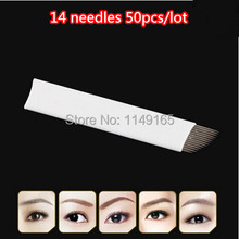 50pcs/lot Permanent Makeup Eyebrow 14Needles For Manual Eyebrow Tattoo Pen For Tattoo Needles
