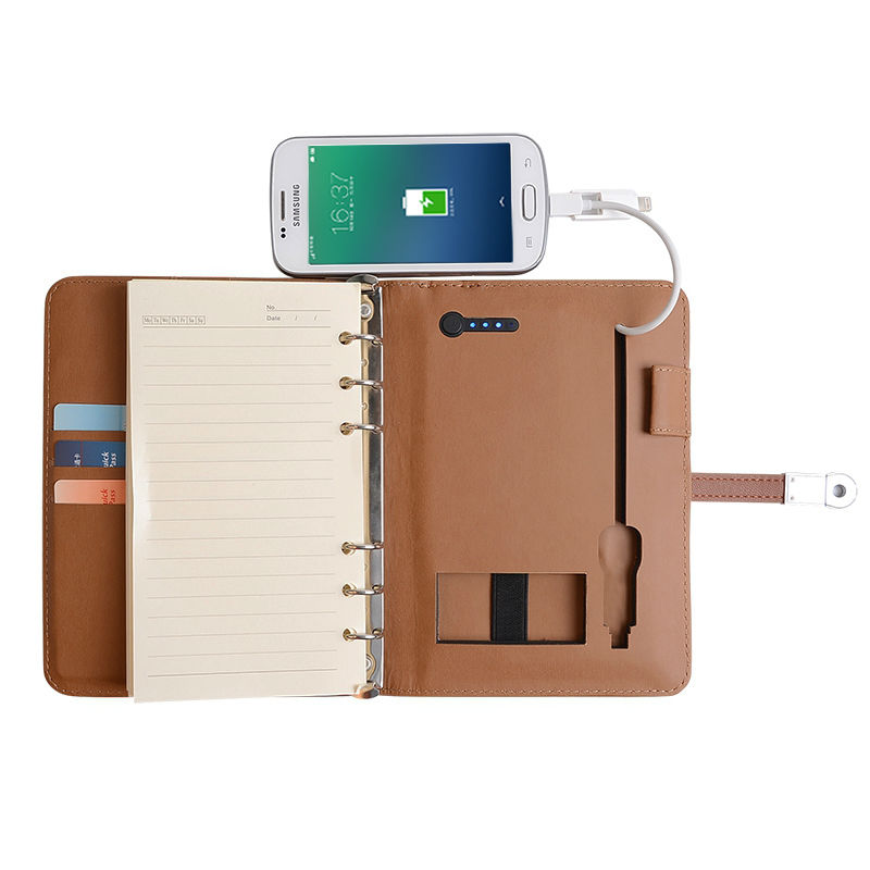 ФОТО Novel with Power Bank Business Notebook 8GB Notebook PU Leather Notebook Office Supply Company Gift Travel Accessories