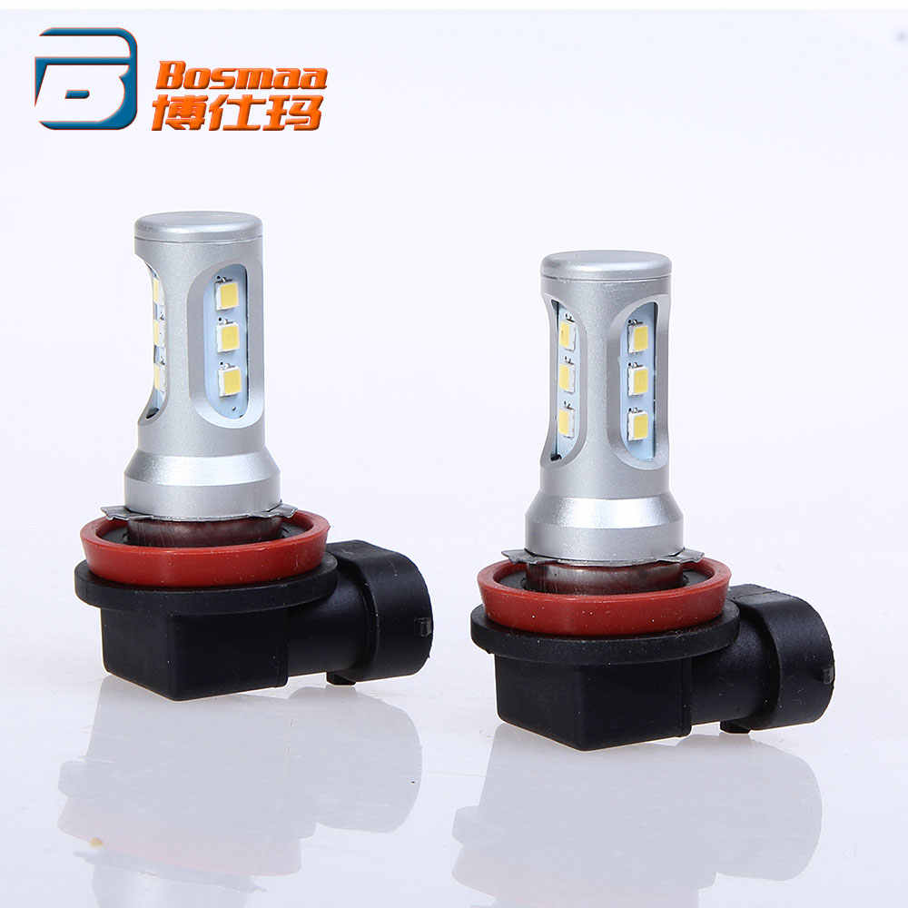Pair Bosmaa Canbus H8/H9/H11/H16(JP) 9005/HB3 9006/HB4 H16/5202 PY24W LED Fog Light  Datime Running Lamp w/ 3030 chips 9-smd