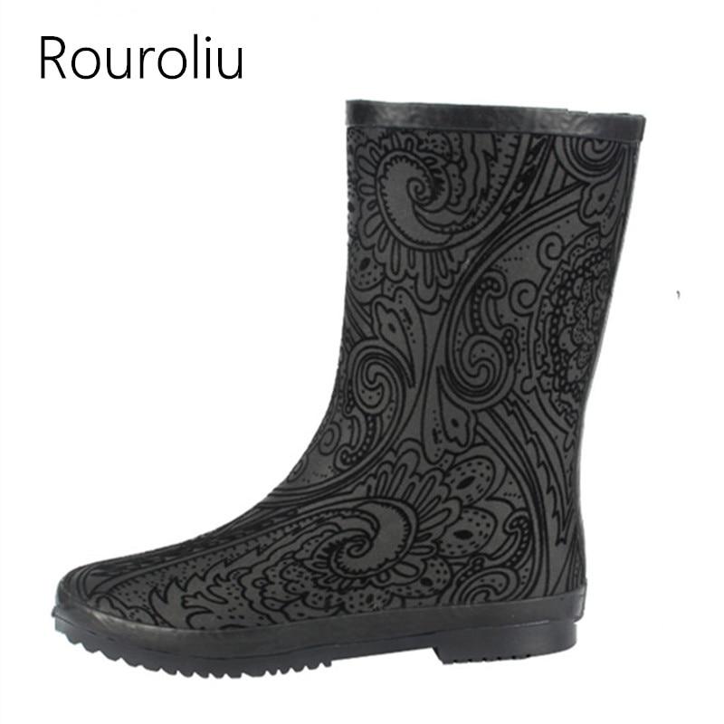 Rouroliu Women Non-Slip Mid-Calf Rain Boots Fabric Water Shoes Waterproof Boots Woman National Wind Wellies Slip-on RB10 rouroliu women non slip mid calf rubber rain boots autumn pvc waterproof water shoes woman wellies slip on rb218