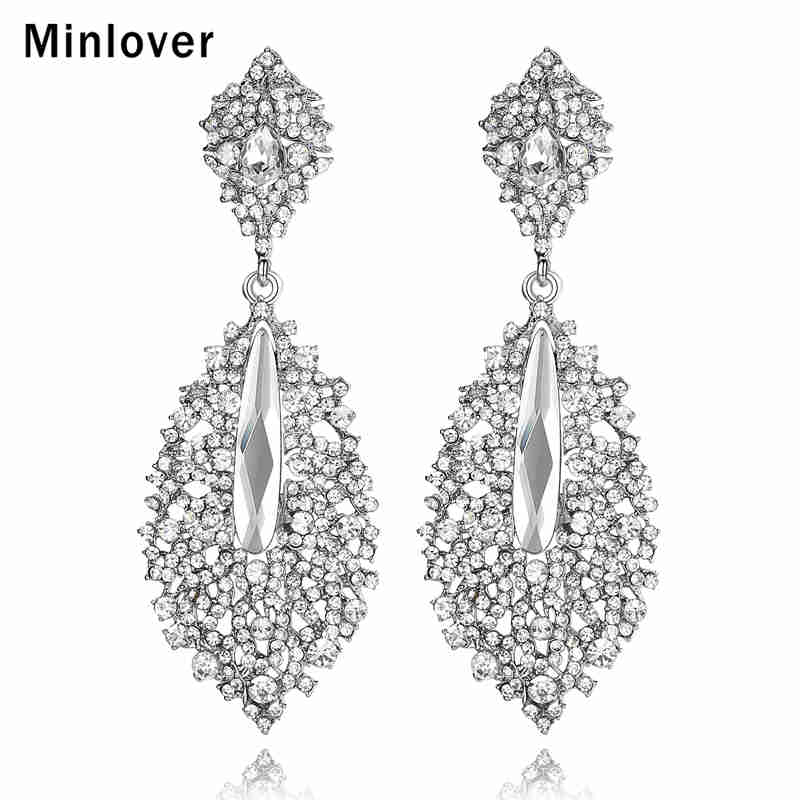 Minlover Silver Color Bride Wedding Earrings for Women Rhinestone Leaf Dangle Earrings Fashion Jewelry Christmas for Prom MEH214 a suit of vintage rhinestone leaf necklace and earrings for women page 4