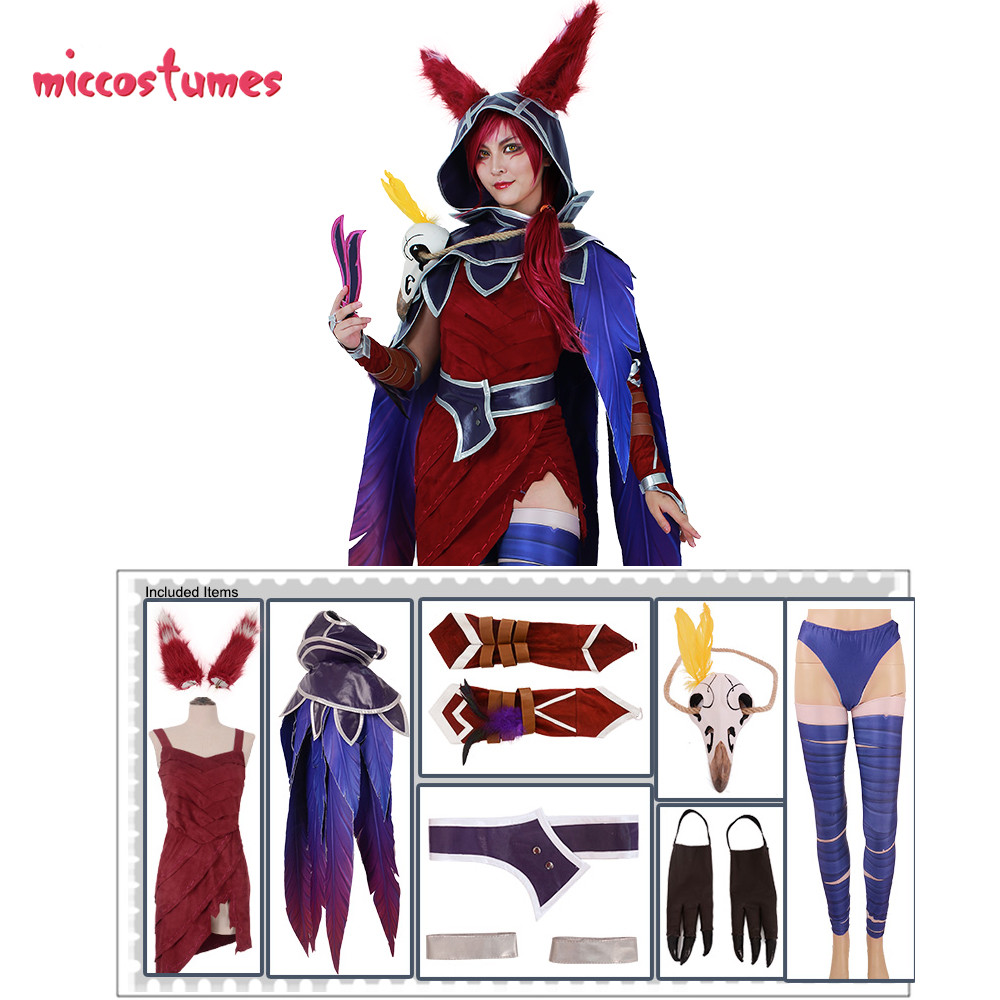 Image 3 - Xayah Cosplay Costume Woman The Rebel Halloween Outfit with Ears, Bird feet covers and Skull decoration-in Game Costumes from Novelty & Special Use