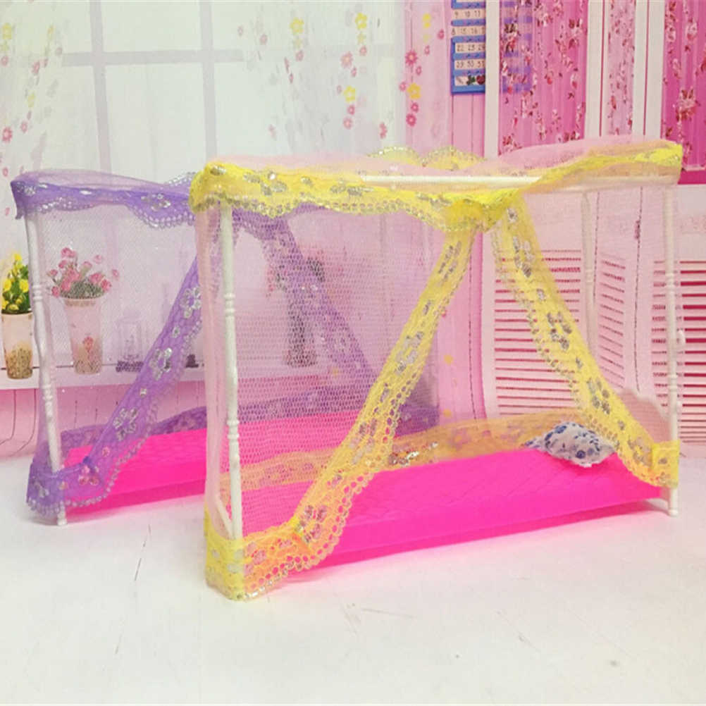 Wholesale Nets+Bed+Pillow Plastic Lace Dollhouse Miniatures Furniture Accessories bed Doll Toys Good Quality