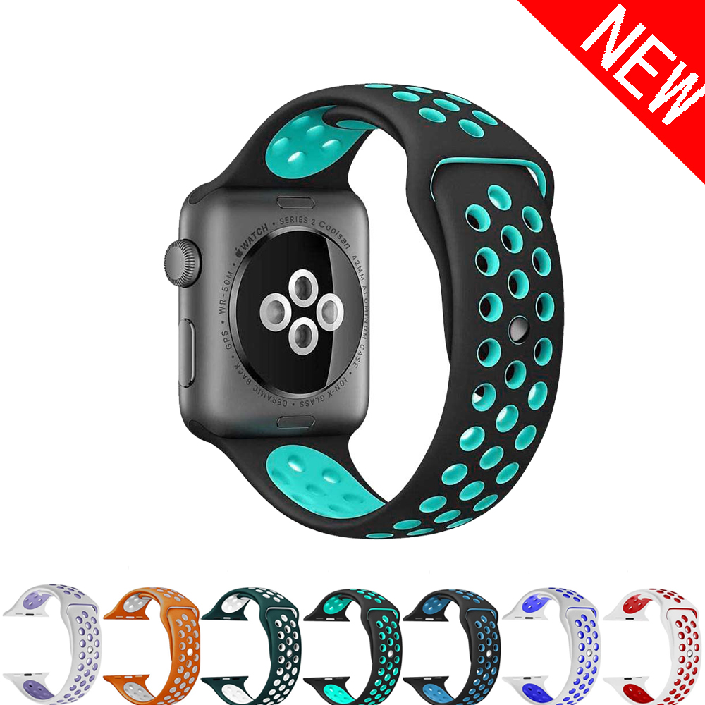 CRESTED Sport Silicone strap For Apple watch Band 42mm 38mm iwatch 3/2/1 bracelet Rubber band+metal Adapter watch wrist belt crested sport band for apple watch 3 42mm 38mm strap for iwatch nike 3 2 1 wrist band bracelet silicone strap