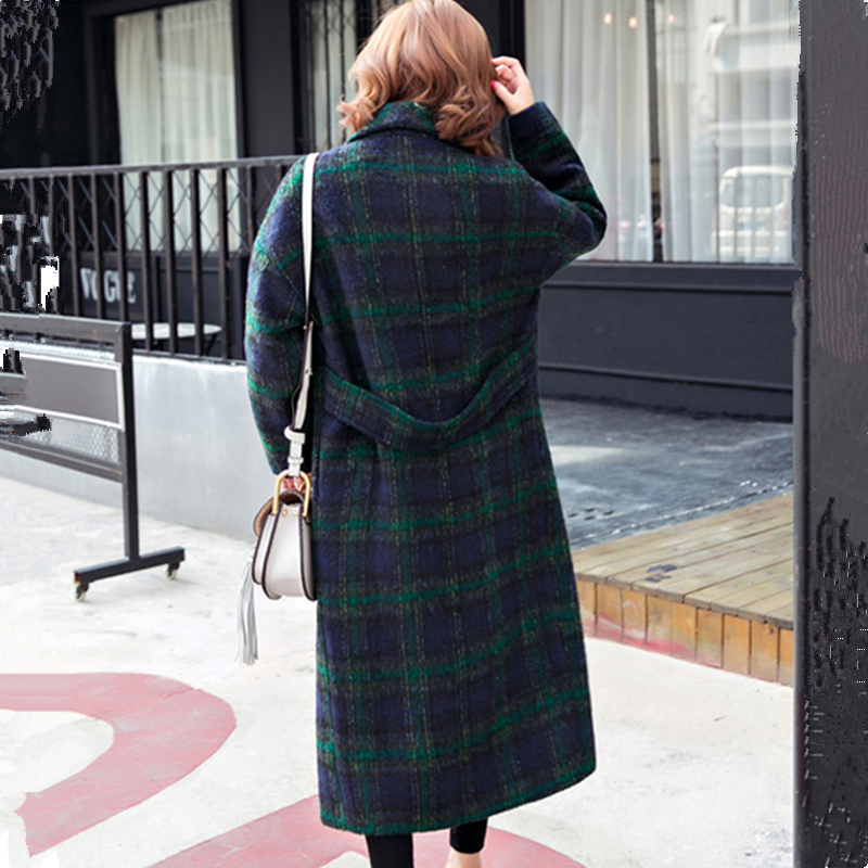 Mode Chaud Plaid De Hiver Casual Rayé Laine Qualité Longue Green Lâche Tranchée Automne Pardessus Cocon Mélange Lyl244 Femelle Femmes wq0rxBnpfq