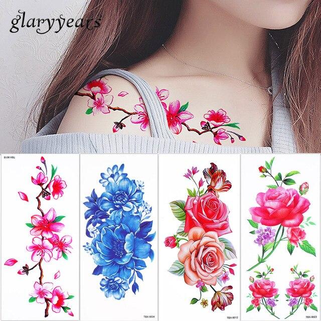 Glaryyears 5 Unids Lote Flor De Cerezo Realista Tatuaje Coloreado