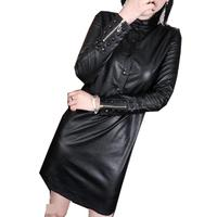 plus size 3XL 2019 Autumn new fashion stand collar pu leather bottoming shirt women long section Slim rivet blouse shirt