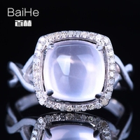 BAIHE Solid 14K White Gold AU585 3 26CT Certified Flawless Cushion Genuine Pink Quartz Wedding Women