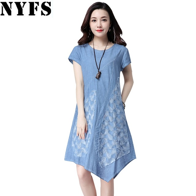 2017 New Women Short Sleeve Cotton Linen Summer Dresses Casual irregular Vestidos Robe Dresses