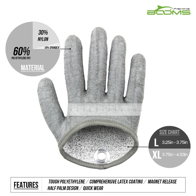 Fishing Free Hands Gray Fishing Gloves for Handing Fish Safety