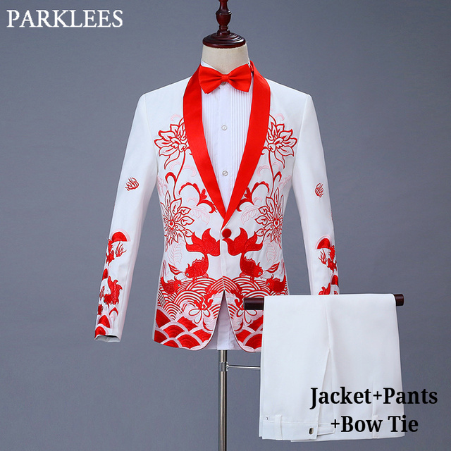 (Jacket+Pants) Mens White Wedding Dress Suits Stage Prom Performing Red Jacquard Suit Men Wedding Singer Costume Terno Masculino 1