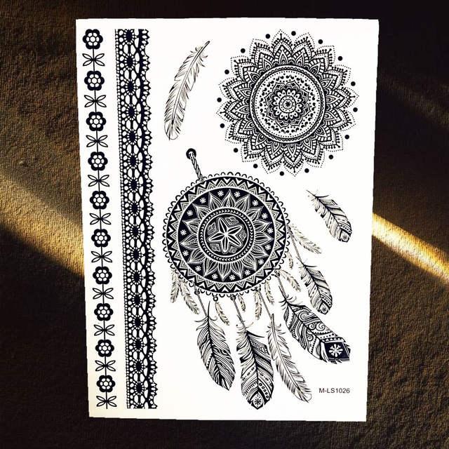 Online Shop 1pc Hot Black Henna Tattoo Sticker Dreamcatcher Design