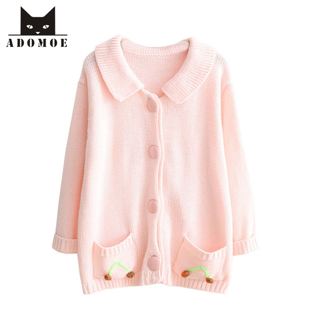 2017 Autumn New Baby Pink Cardigans Single Breasted Women\u0027s Sweaters  Strawberry Decoration Soft sister Lovely Cute