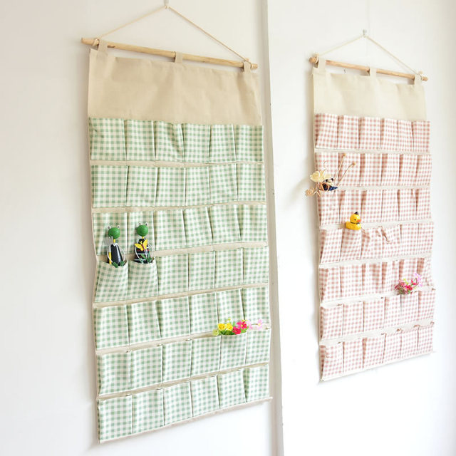 Super Large 42 Pockets Wall Hanging Dysdic Bags Storage Bag Cotton Fabric  Hanging Organizers Debris Storage