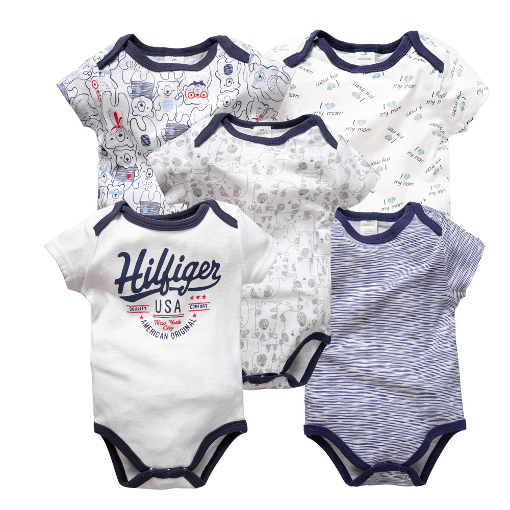 5PCS/LOT 0-9 Months Baby Boys Girls Funny Infant Clothing Jumpsuit Short Sleeve Outfit Summer Clothes Bodysuit Cosas Para Bebe