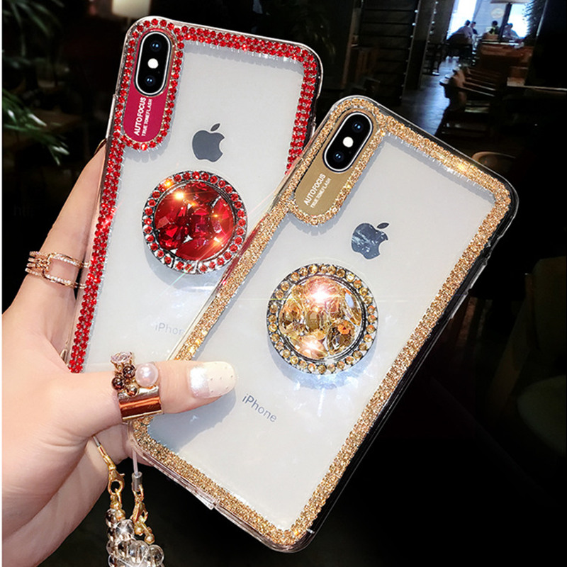 Luxury Bling Glitter With Finger Ring Case For iPhone X 8 7 6 6S Plus XR Luxury Bling Glitter With Finger Ring Case For iPhone X 8 7 6 6S Plus XR XS 11 Pro Max Cover Fashion Diamond Soft TPU Phone Case