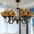 Тиффани-барокко витражное Стекло подвесной светильник E27 110-240 V цепь подвесные светильники для дома гостиная столовая
