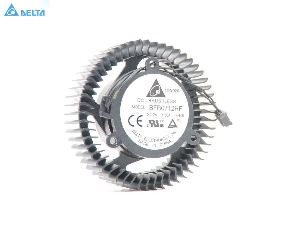 Original Delta BFB0712HF New original double ball pitch equilateral 38mm fan blade diameter 63mm 4P plug graphics card fan new 7010 graphics card fan single ball pitch 3 4cm diameter 6 2cm dc12v 0 16a