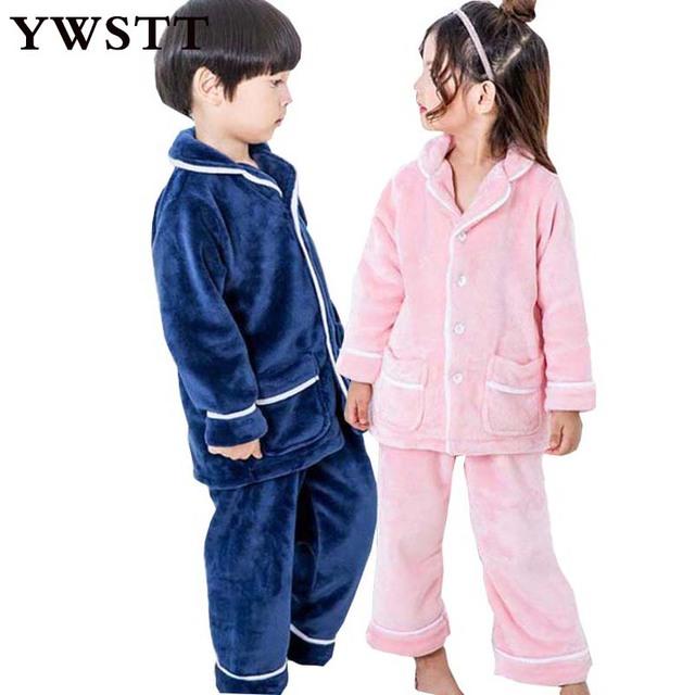 2018 New Unisex Kids Winter Flannel Pajamas Sets Children Girl Warm Thick Fleece Jacket+pant Sleepwear Girls Home Clothing