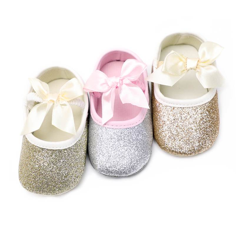 Pretty Baby Girl Shoes Butterfly-knot Sequim PU Leather First Walkers Newborn Baby Shoes Toddler Crib Moccasins 3 Colors