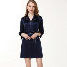 100% Genuine Silk Nightdress Female Business Turn-down Collar Nightgowns Navy Blue Long Sleeve Summer Silk Women Sleepwear