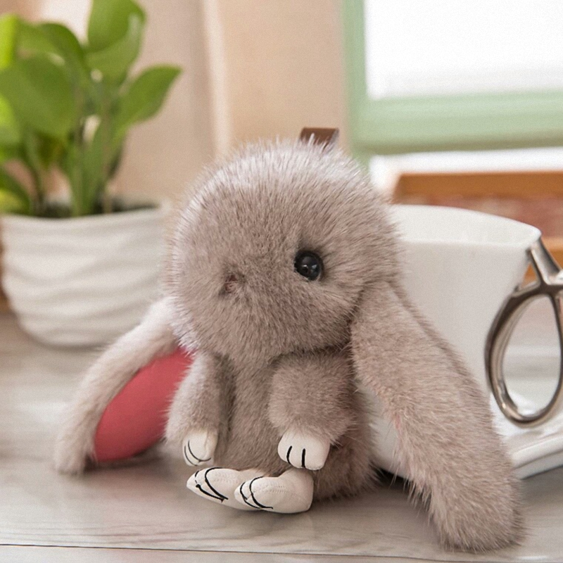 15CM 100% Real Mink Fur Cute Bunny Rabbit Keychain Pendant Bag Car Charm Cell Phone Key Rings Fluffy Doll Keychain Fo-K058-grey