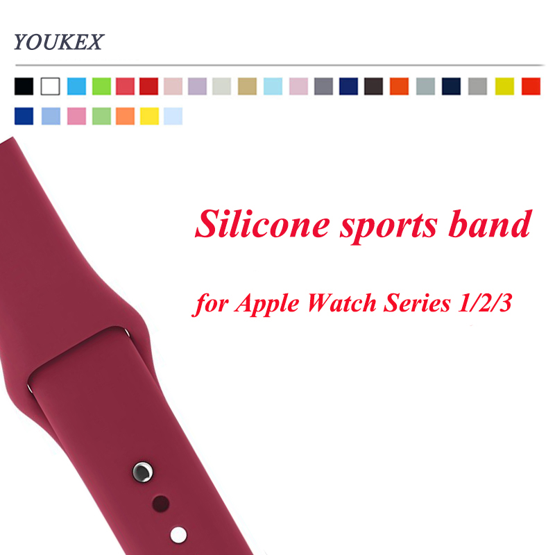 YOUKEX Silicone Band for Apple Watch 38mm 42mm Replacement Sport Bracelet Wrist Strap for iWatch Series 1 Series 2 Series 3 large small size sport silicone replacement watch wrist strap bands for samsung gear fit 2 r360 watch band conjoined watch band