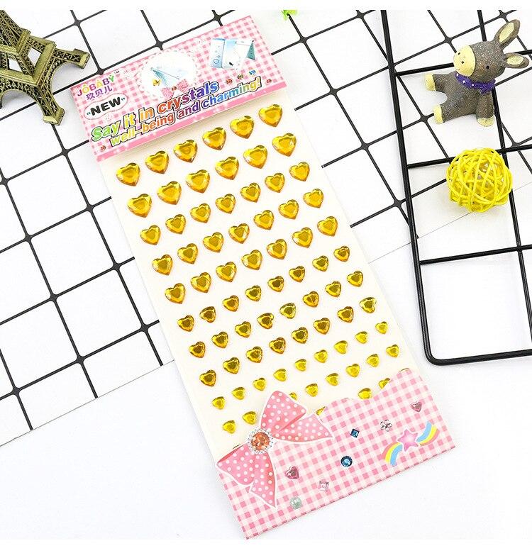 Детские игрушки наклейка в форме сердца DIY Наклейка мобильного искусства Кристалл бриллиант Стразы самоклеющиеся Скрапбукинг Стикеры s GYH - Цвет: Gold