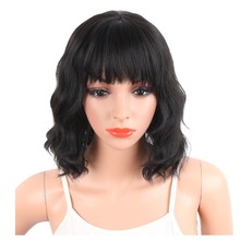 Deyngs Pixie Cut Synthetic Wigs With Bangs For Black Women Short Wavy Womens Hair Natural Heat Resistant Brown Color