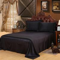 DSstyles 3Pcs/4Pcs Solid Color Imitated Silk Fabric Bedding Set Quilt Cover Pillowcase Bed Sheet