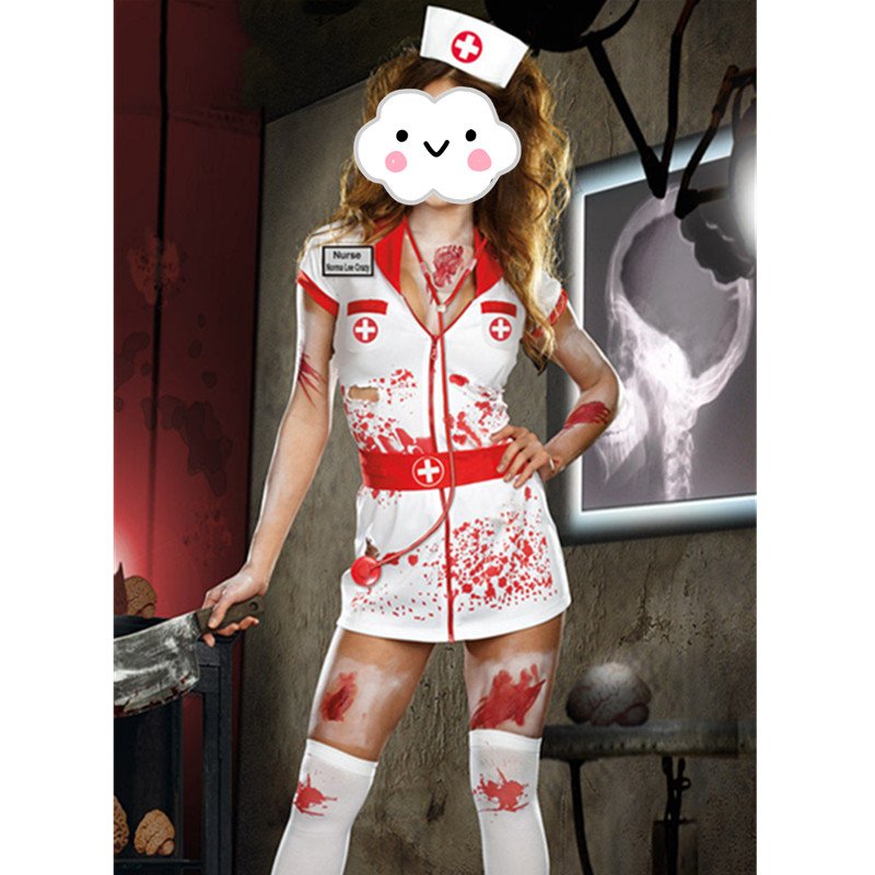 2016 Adult Scary Zombie Nurse Costume Women Sexy Scary Nurse Fancy Dress Halloween Party Cosplay Spooky Splatter Costume