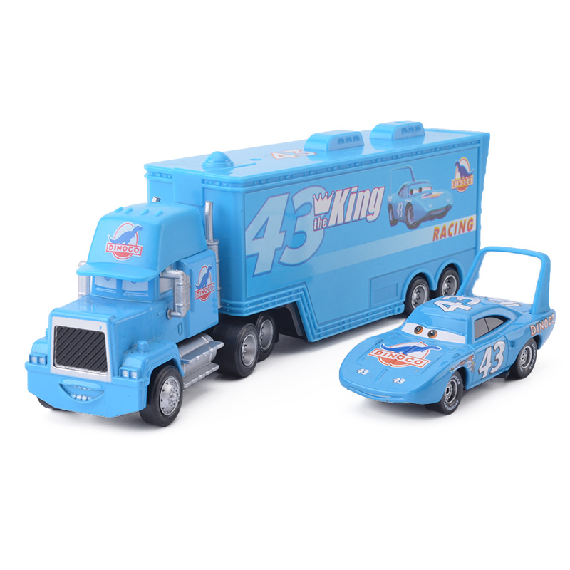 Disney Pixar Cars 3 2pcs The King Lightning McQueen Uncle Container Truck 1:55 Diecast Alloy Modle Birthday Gift Toy For Kid