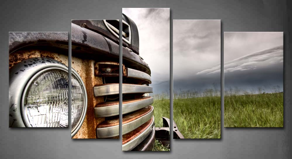 5 Panels Unframed Wall Art Pictures Old Truck Prairie Canvas Print Artwork Modern Car Posters For Living Room Decor