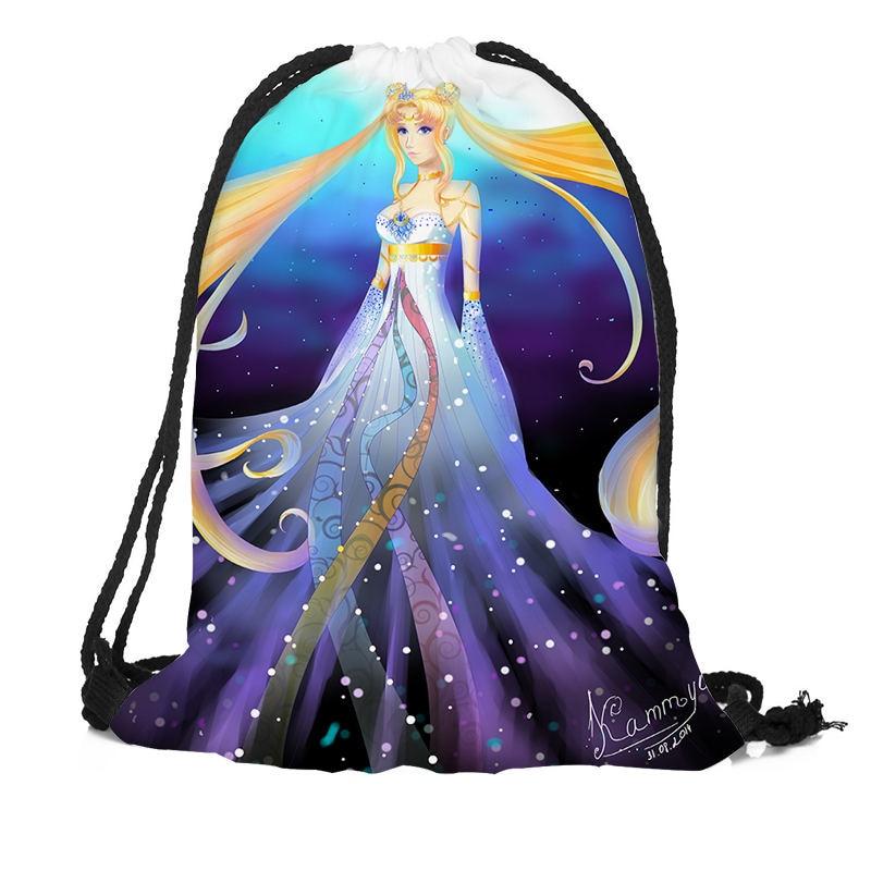 Customized Sailor Moon Backpack Drawstring Bag Travel Beach School Bag Multi-function Backpack Printing