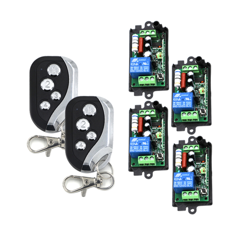 4 Receiver & 2 Transmitter 220V 110V 1CH RF Wireless Remote Switch Light Lamp ON OFF Switch Wireless 10A Momenrary Toggle 4250 24v 1ch rf wireless remote switch wireless light lamp led switch receiver